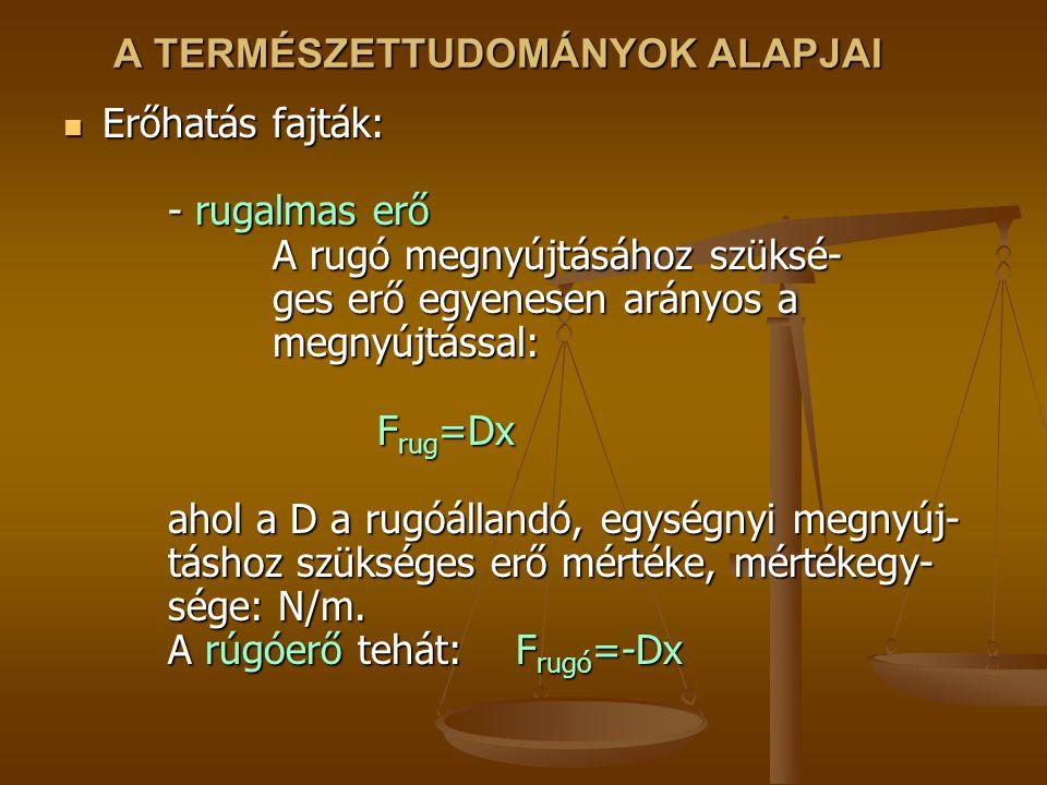 A TERMÉSZETTUDOMÁNYOK ALAPJAI Erőhatás fajták: - rugalmas erő A rugó megnyújtásához szüksé- ges erő egyenesen arányos a megnyújtással: F rug =Dx ahol a D a rugóállandó, egységnyi megnyúj- táshoz szükséges erő mértéke, mértékegy- sége: N/m.