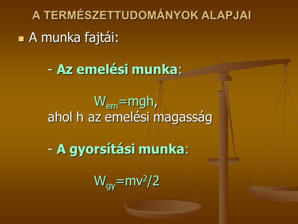 A TERMÉSZETTUDOMÁNYOK ALAPJAI A munka fajtái: - Az emelési munka: W em =mgh, ahol h az emelési magasság - A gyorsítási munka: W gy =mv 2 /2 A munka fajtái: - Az emelési munka: W em =mgh, ahol h az emelési magasság - A gyorsítási munka: W gy =mv 2 /2