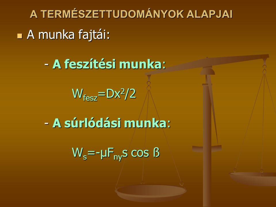 A TERMÉSZETTUDOMÁNYOK ALAPJAI A munka fajtái: - A feszítési munka: W fesz =Dx 2 /2 - A súrlódási munka: W s =-μF ny s cos ß A munka fajtái: - A feszítési munka: W fesz =Dx 2 /2 - A súrlódási munka: W s =-μF ny s cos ß