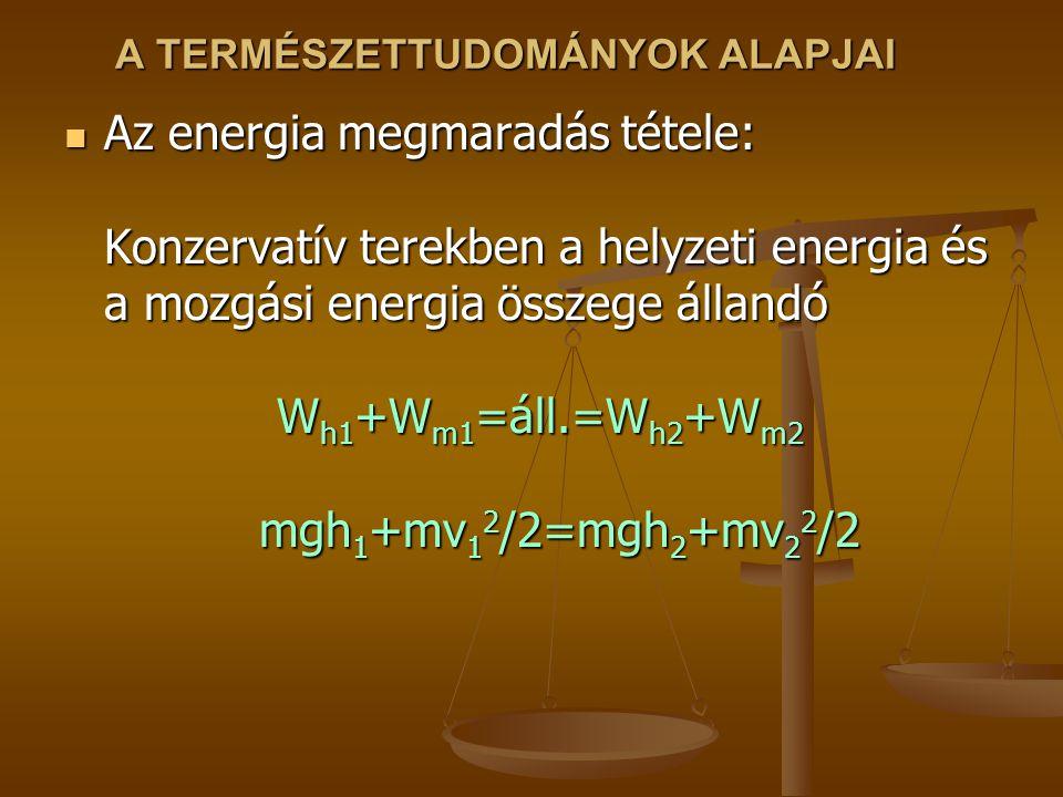 A TERMÉSZETTUDOMÁNYOK ALAPJAI Az energia megmaradás tétele: Konzervatív terekben a helyzeti energia és a mozgási energia összege állandó W h1 +W m1 =áll.=W h2 +W m2 mgh 1 +mv 1 2 /2=mgh 2 +mv 2 2 /2 Az energia megmaradás tétele: Konzervatív terekben a helyzeti energia és a mozgási energia összege állandó W h1 +W m1 =áll.=W h2 +W m2 mgh 1 +mv 1 2 /2=mgh 2 +mv 2 2 /2