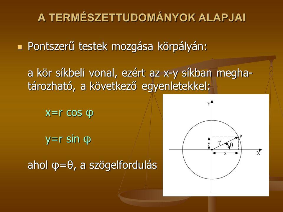A TERMÉSZETTUDOMÁNYOK ALAPJAI Pontszerű testek mozgása körpályán: a kör síkbeli vonal, ezért az x-y síkban megha- tározható, a következő egyenletekkel: x=r cos φ y=r sin φ ahol φ=θ, a szögelfordulás Pontszerű testek mozgása körpályán: a kör síkbeli vonal, ezért az x-y síkban megha- tározható, a következő egyenletekkel: x=r cos φ y=r sin φ ahol φ=θ, a szögelfordulás