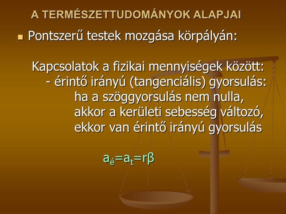 A TERMÉSZETTUDOMÁNYOK ALAPJAI Pontszerű testek mozgása körpályán: Kapcsolatok a fizikai mennyiségek között: - érintő irányú (tangenciális) gyorsulás: ha a szöggyorsulás nem nulla, akkor a kerületi sebesség változó, ekkor van érintő irányú gyorsulás a é =a t =rβ Pontszerű testek mozgása körpályán: Kapcsolatok a fizikai mennyiségek között: - érintő irányú (tangenciális) gyorsulás: ha a szöggyorsulás nem nulla, akkor a kerületi sebesség változó, ekkor van érintő irányú gyorsulás a é =a t =rβ