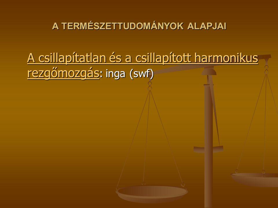A TERMÉSZETTUDOMÁNYOK ALAPJAI A csillapítatlan és a csillapított harmonikus rezgőmozgás A csillapítatlan és a csillapított harmonikus rezgőmozgás : inga (swf) A csillapítatlan és a csillapított harmonikus rezgőmozgás
