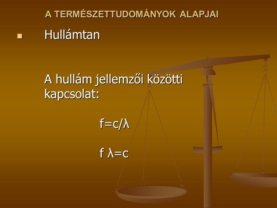 A TERMÉSZETTUDOMÁNYOK ALAPJAI Hullámtan A hullám jellemzői közötti kapcsolat: f=c/λ f λ=c Hullámtan A hullám jellemzői közötti kapcsolat: f=c/λ f λ=c