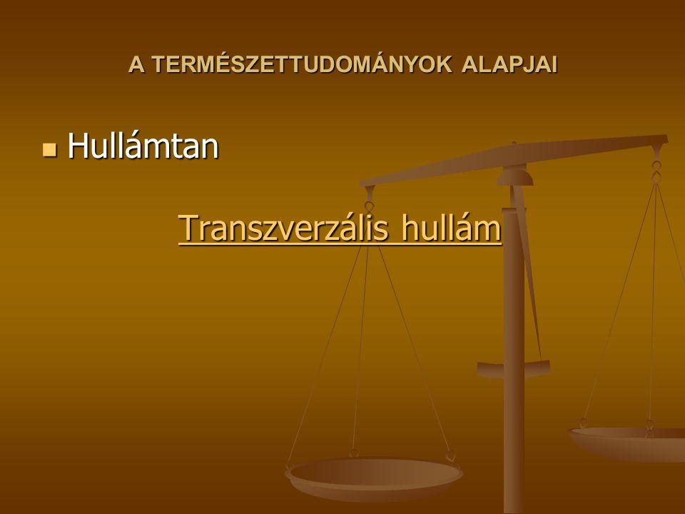 A TERMÉSZETTUDOMÁNYOK ALAPJAI Hullámtan Transzverzális hullám Hullámtan Transzverzális hullám Transzverzális hullám Transzverzális hullám