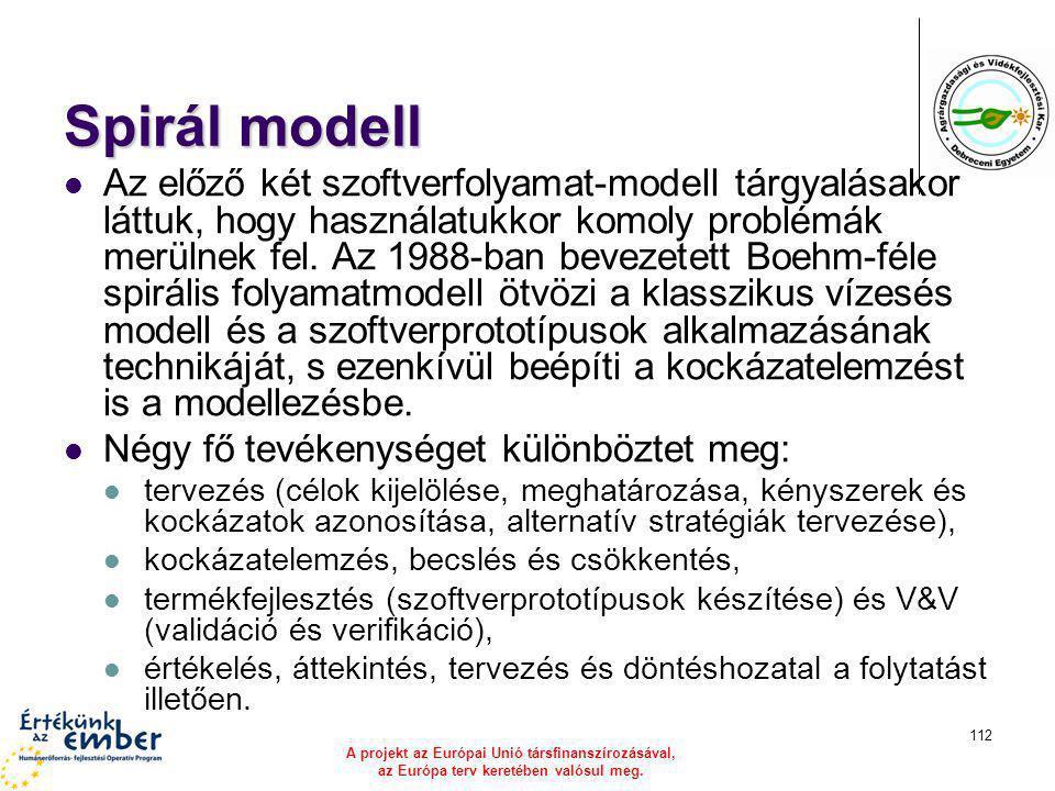 A projekt az Európai Unió társfinanszírozásával, az Európa terv keretében valósul meg. 112 Spirál modell Az előző két szoftverfolyamat-modell tárgyalá