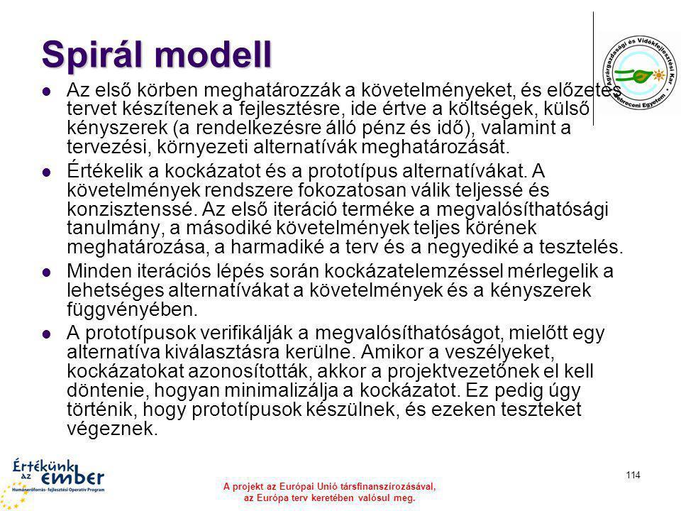 A projekt az Európai Unió társfinanszírozásával, az Európa terv keretében valósul meg. 114 Spirál modell Az első körben meghatározzák a követelményeke