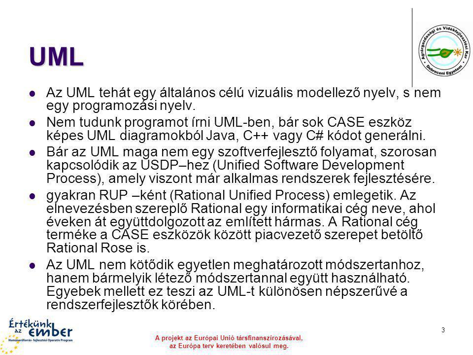 A projekt az Európai Unió társfinanszírozásával, az Európa terv keretében valósul meg. 3 UML Az UML tehát egy általános célú vizuális modellező nyelv,