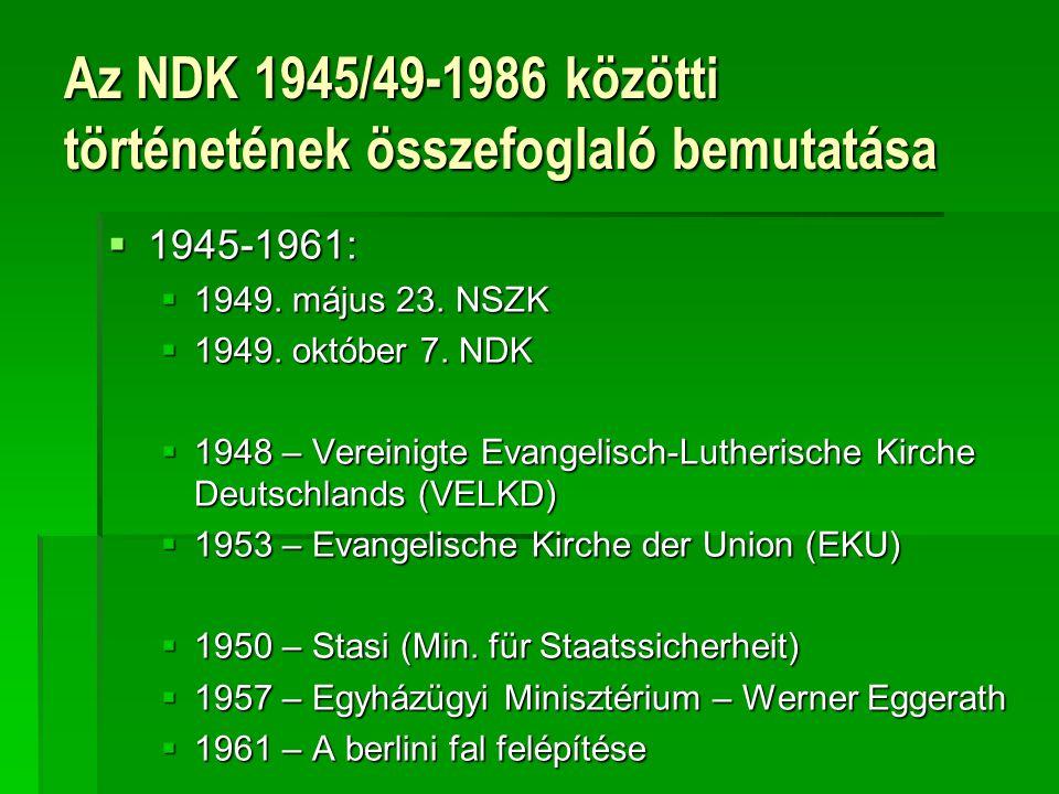 Az NDK 1945/49-1986 közötti történetének összefoglaló bemutatása  1945-1961:  1949. május 23. NSZK  1949. október 7. NDK  1948 – Vereinigte Evange