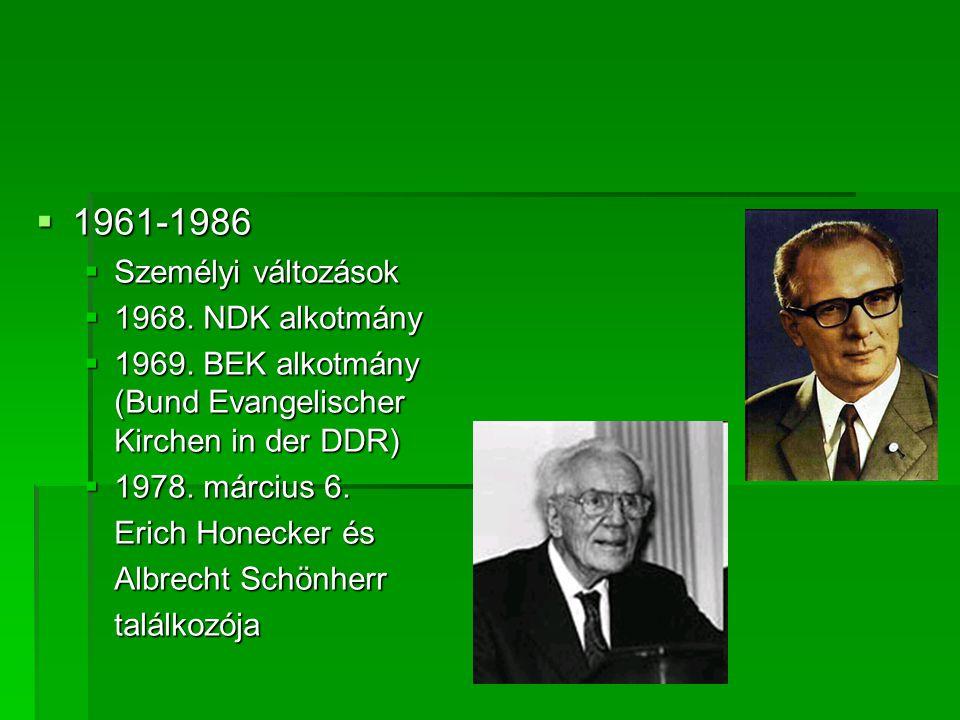  1961-1986  Személyi változások  1968. NDK alkotmány  1969. BEK alkotmány (Bund Evangelischer Kirchen in der DDR)  1978. március 6. Erich Honecke
