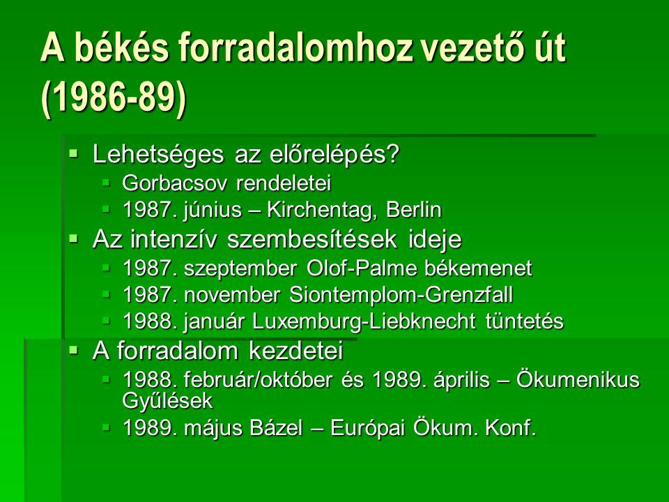 A békés forradalomhoz vezető út (1986-89)  Lehetséges az előrelépés?  Gorbacsov rendeletei  1987. június – Kirchentag, Berlin  Az intenzív szembes