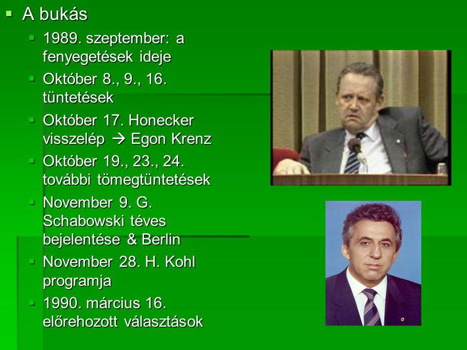  A bukás  1989. szeptember: a fenyegetések ideje  Október 8., 9., 16. tüntetések  Október 17. Honecker visszelép  Egon Krenz  Október 19., 23.,