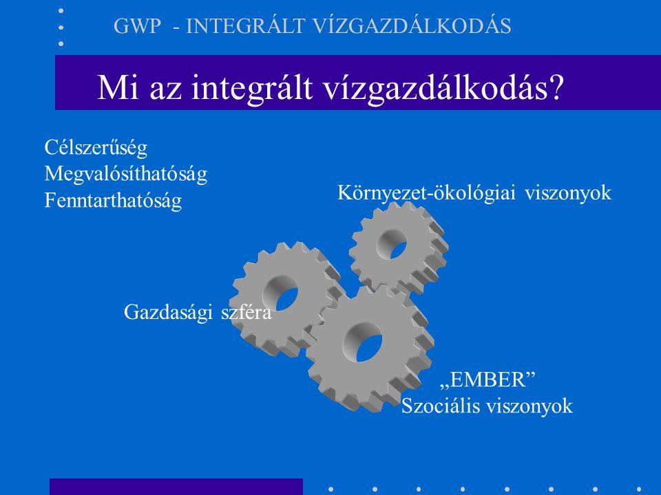 """Mi az integrált vízgazdálkodás? GWP - INTEGRÁLT VÍZGAZDÁLKODÁS Környezet-ökológiai viszonyok Gazdasági szféra """"EMBER"""" Szociális viszonyok Célszerűség"""