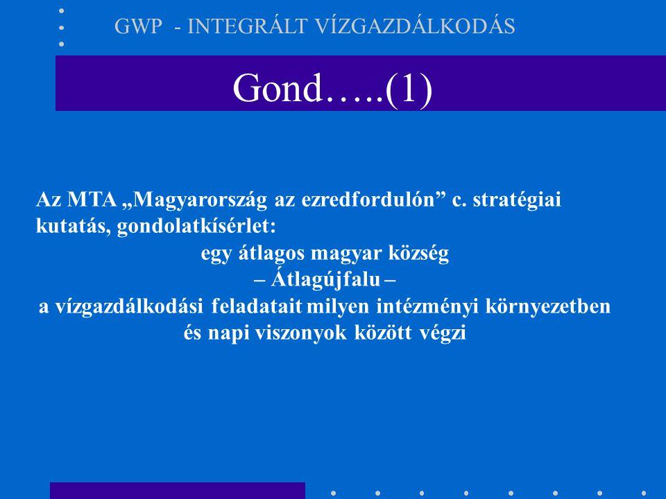 """Gond…..(1) GWP - INTEGRÁLT VÍZGAZDÁLKODÁS Az MTA """"Magyarország az ezredfordulón"""" c. stratégiai kutatás, gondolatkísérlet: egy átlagos magyar község –"""