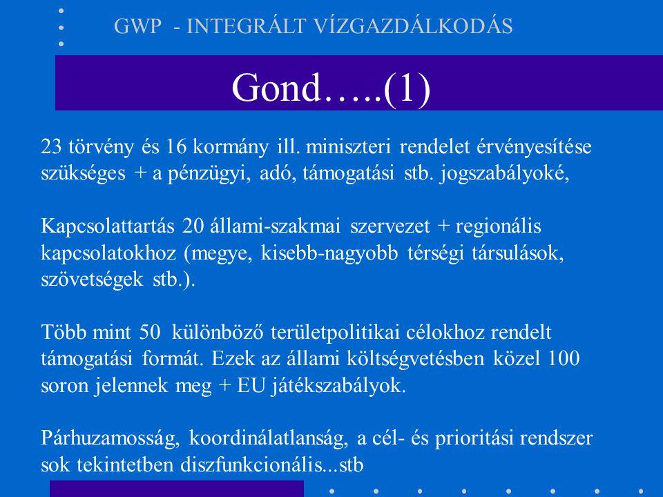 Gond…..(1) GWP - INTEGRÁLT VÍZGAZDÁLKODÁS 23 törvény és 16 kormány ill. miniszteri rendelet érvényesítése szükséges + a pénzügyi, adó, támogatási stb.