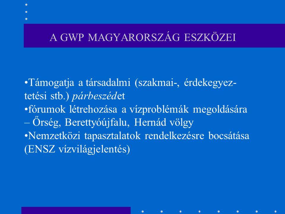 A GWP MAGYARORSZÁG ESZKÖZEI Támogatja a társadalmi (szakmai-, érdekegyez- tetési stb.) párbeszédet fórumok létrehozása a vízproblémák megoldására – Őr
