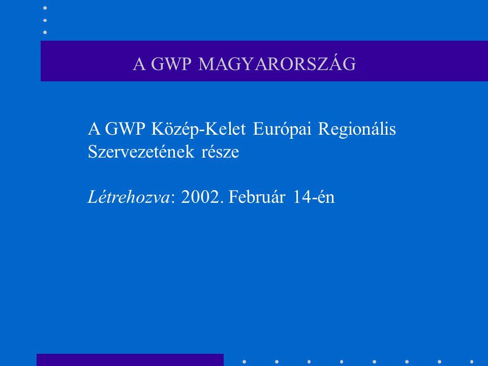 A GWP MAGYARORSZÁG CÉLJA Az integrált vízgazdálkodás elősegítése az EU VKI a vízi környezet védelem támogatása az árvizek és belvizek elleni védelem javítása az együttműködés előmozdítása a Kárpát medencei országai között