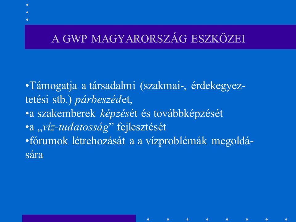 """A GWP MAGYARORSZÁG ESZKÖZEI Támogatja a társadalmi (szakmai-, érdekegyez- tetési stb.) párbeszédet, a szakemberek képzését és továbbképzését a """"víz-tudatosság fejlesztését fórumok létrehozását a a vízproblémák megoldá- sára"""