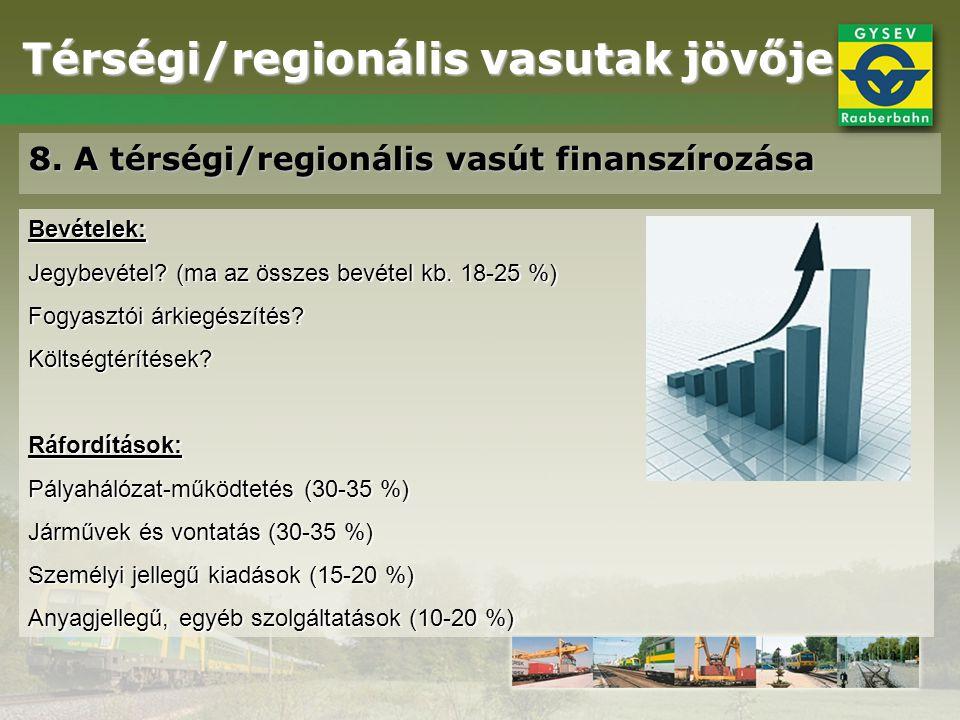 Térségi/regionális vasutak jövője 8. A térségi/regionális vasút finanszírozása Bevételek: Jegybevétel? (ma az összes bevétel kb. 18-25 %) Fogyasztói á