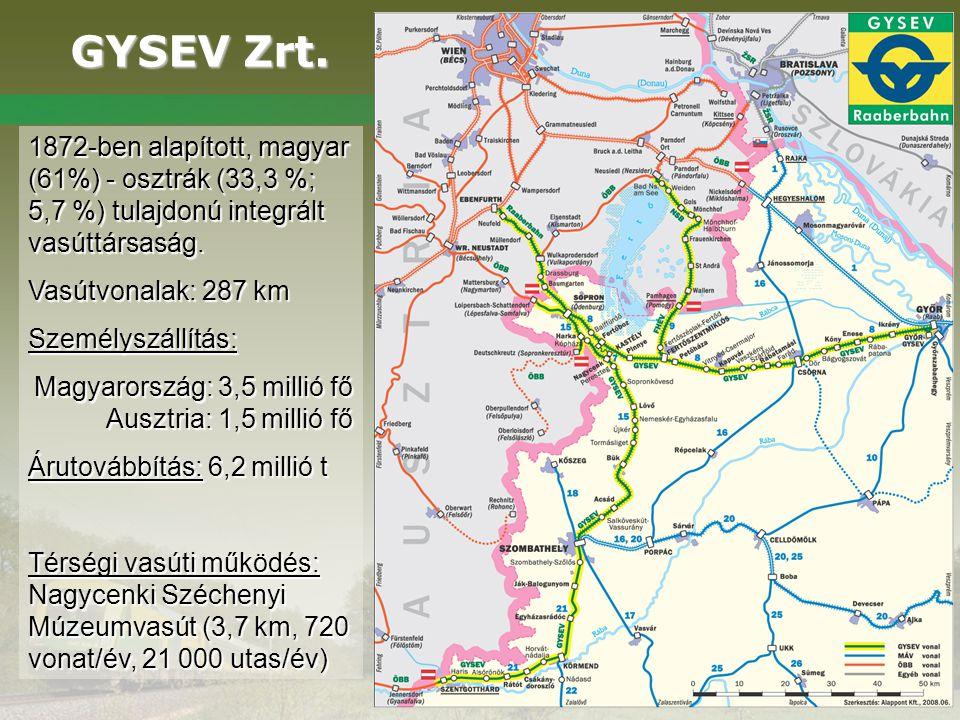GYSEV Zrt. GYSEV Zrt. 1872-ben alapított, magyar (61%) - osztrák (33,3 %; 5,7 %) tulajdonú integrált vasúttársaság. Vasútvonalak: 287 km Személyszállí