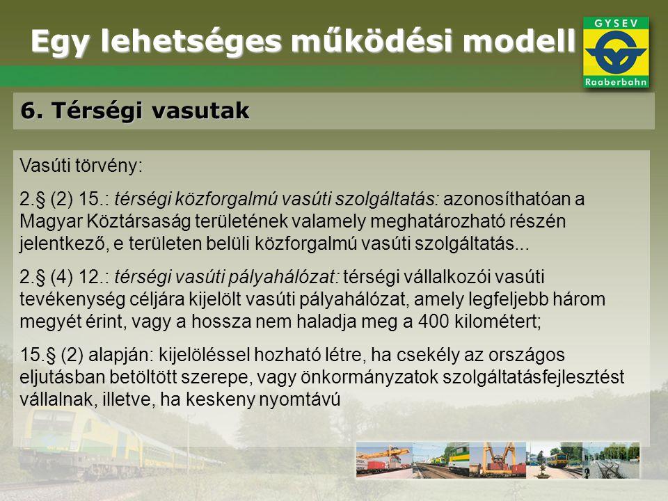 Egy lehetséges működési modell 6. Térségi vasutak Vasúti törvény: 2.§ (2) 15.: térségi közforgalmú vasúti szolgáltatás: azonosíthatóan a Magyar Köztár