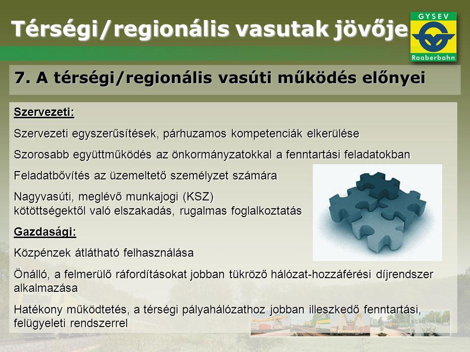 Térségi/regionális vasutak jövője 7. A térségi/regionális vasúti működés előnyei Szervezeti: Szervezeti egyszerűsítések, párhuzamos kompetenciák elker