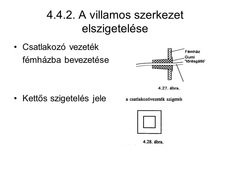 Csatlakozó vezeték fémházba bevezetése Kettős szigetelés jele