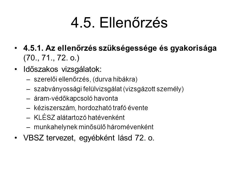 4.5.Ellenőrzés 4.5.1. Az ellenőrzés szükségessége és gyakorisága (70., 71., 72.