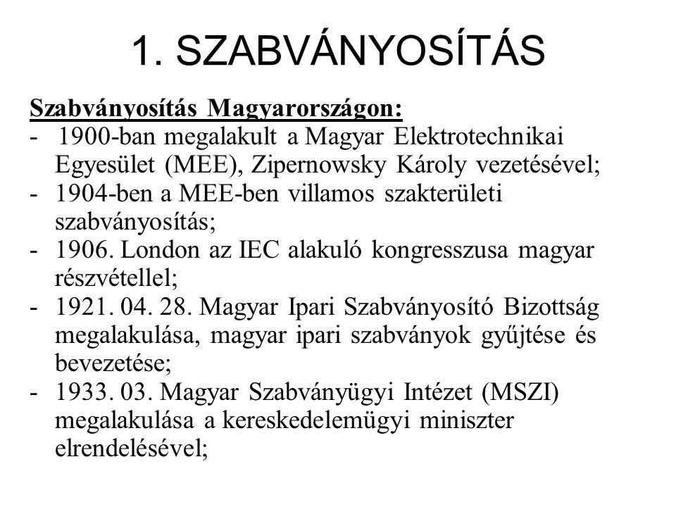 1. SZABVÁNYOSÍTÁS Szabványosítás Magyarországon: - 1900-ban megalakult a Magyar Elektrotechnikai Egyesület (MEE), Zipernowsky Károly vezetésével; -190