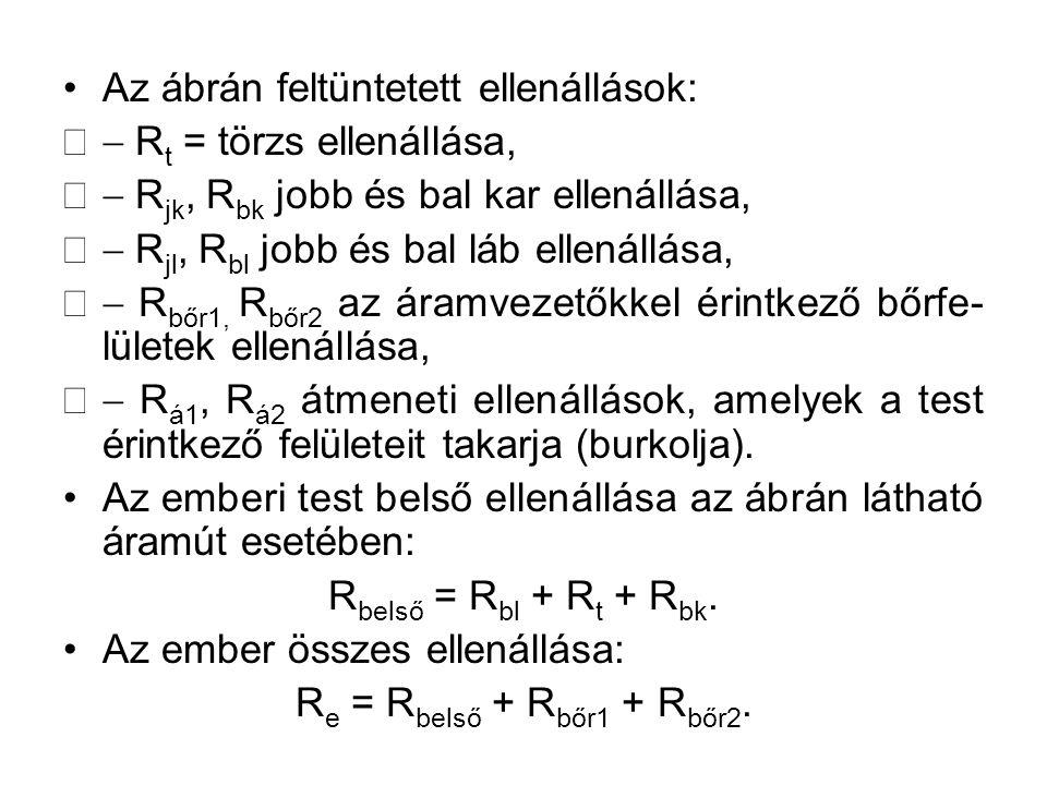 Az ábrán feltüntetett ellenállások:  R t = törzs ellenállása,  R jk, R bk jobb és bal kar ellenállása,  R jl, R bl jobb és bal láb ellenállása,  R bőr1, R bőr2 az áramvezetőkkel érintkező bőrfe- lületek ellenállása,  R á1, R á2 átmeneti ellenállások, amelyek a test érintkező felületeit takarja (burkolja).