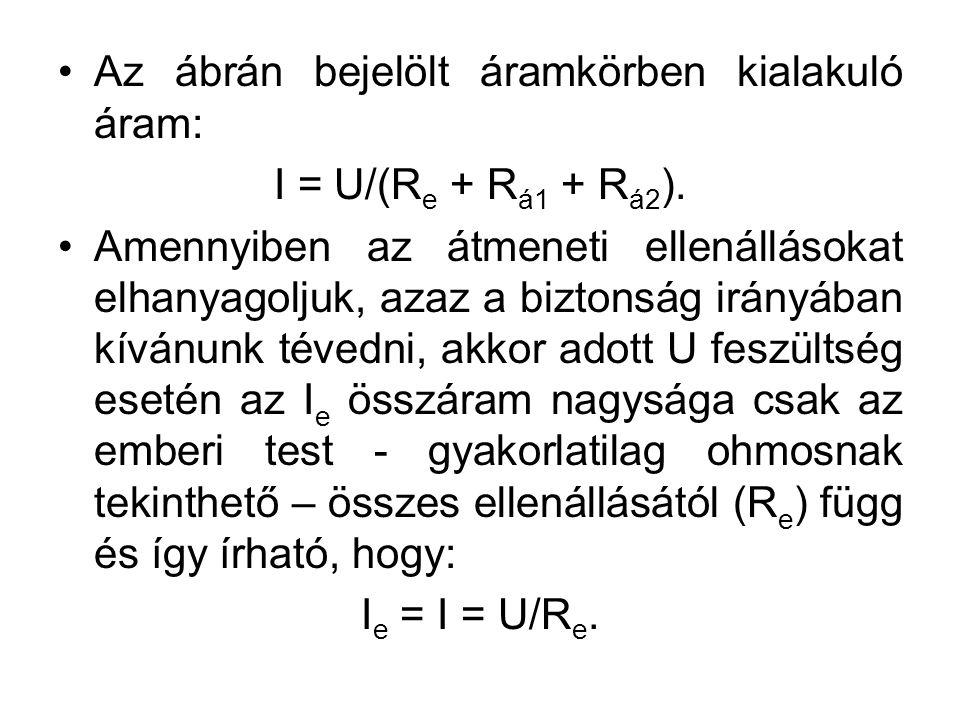 Az ábrán bejelölt áramkörben kialakuló áram: I = U/(R e + R á1 + R á2 ).