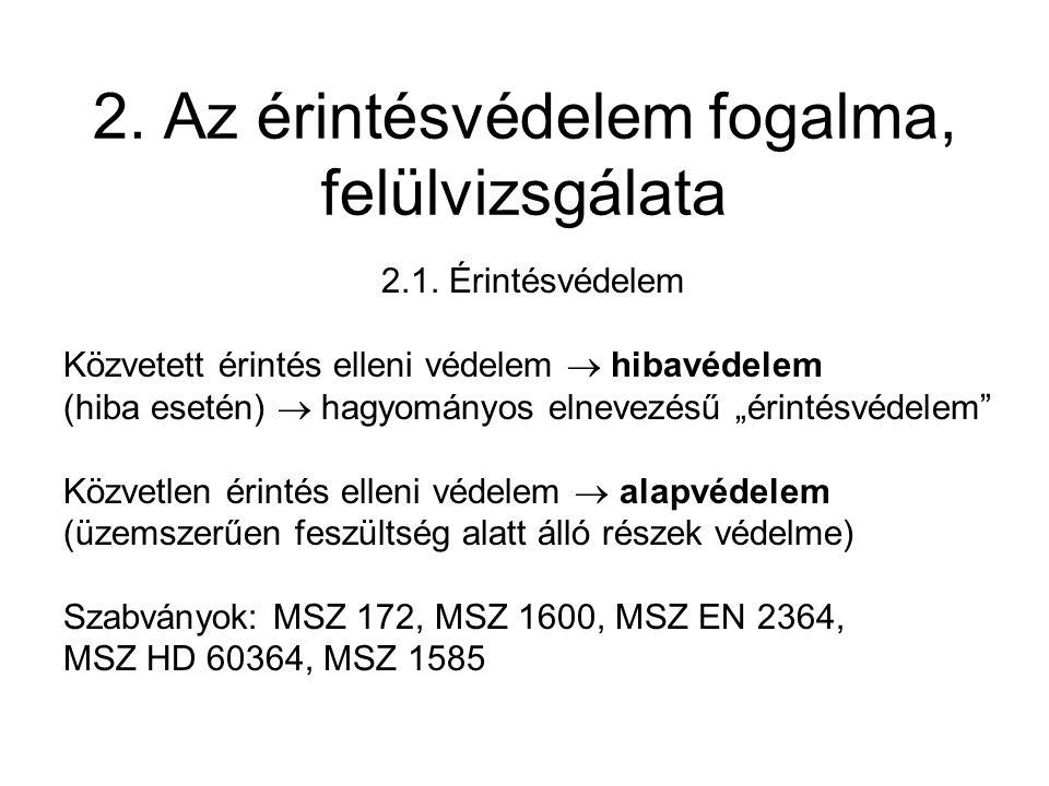 2.Az érintésvédelem fogalma, felülvizsgálata 2.1.
