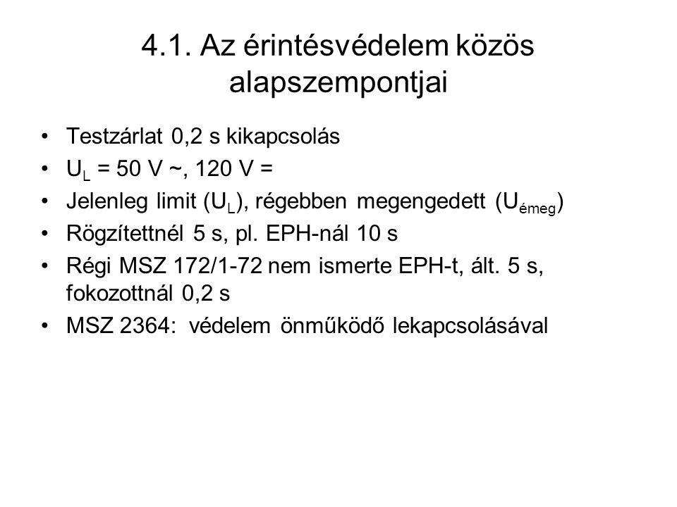 4.1. Az érintésvédelem közös alapszempontjai Testzárlat 0,2 s kikapcsolás U L = 50 V ~, 120 V = Jelenleg limit (U L ), régebben megengedett (U émeg )