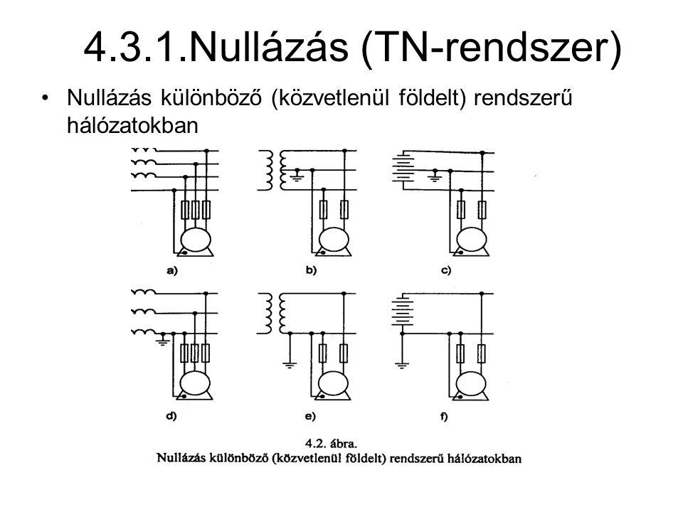 4.3.1.Nullázás (TN-rendszer) Nullázás különböző (közvetlenül földelt) rendszerű hálózatokban