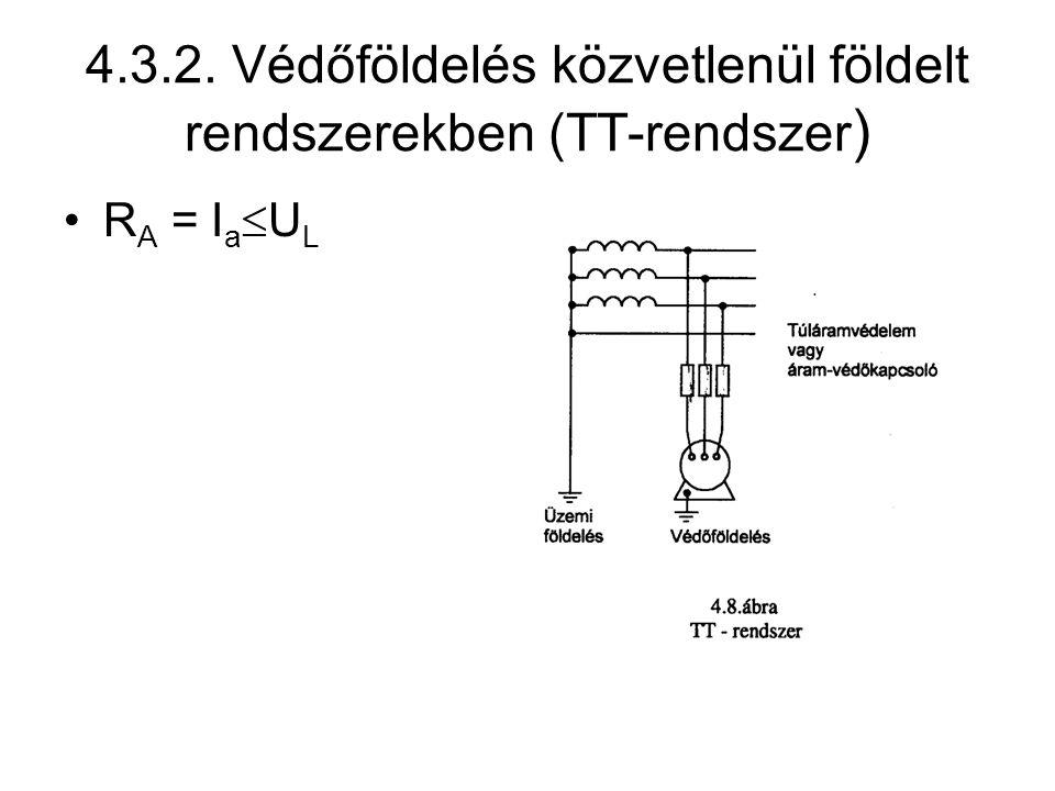 4.3.2. Védőföldelés közvetlenül földelt rendszerekben (TT-rendszer ) R A = I a  U L