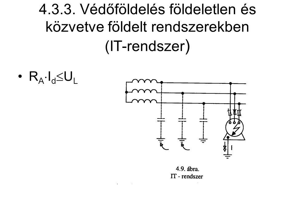 4.3.3. Védőföldelés földeletlen és közvetve földelt rendszerekben (IT-rendszer ) R A  I d  U L