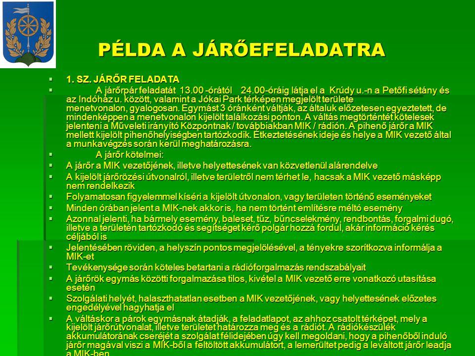 PÉLDA A JÁRŐEFELADATRA  1.SZ.