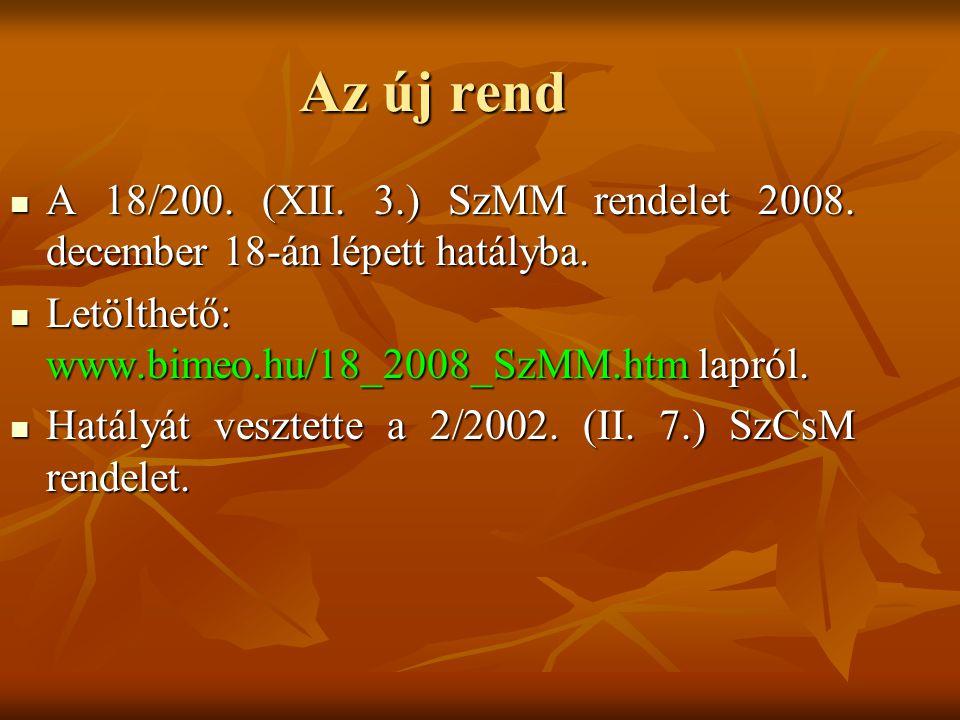 Az új rend A 18/200. (XII. 3.) SzMM rendelet 2008. december 18-án lépett hatályba. A 18/200. (XII. 3.) SzMM rendelet 2008. december 18-án lépett hatál