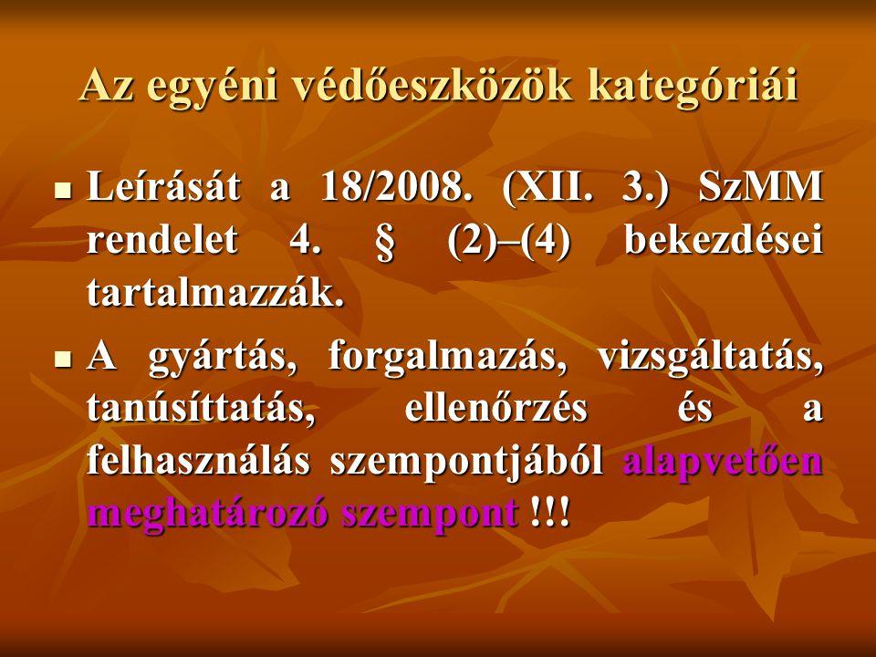 Az egyéni védőeszközök kategóriái Leírását a 18/2008. (XII. 3.) SzMM rendelet 4. § (2)–(4) bekezdései tartalmazzák. Leírását a 18/2008. (XII. 3.) SzMM
