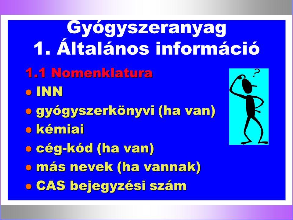 Gyógyszeranyag 1. Általános információ 1.1 Nomenklatura l INN l gyógyszerkönyvi (ha van) l kémiai l cég-kód (ha van) l más nevek (ha vannak) l CAS bej