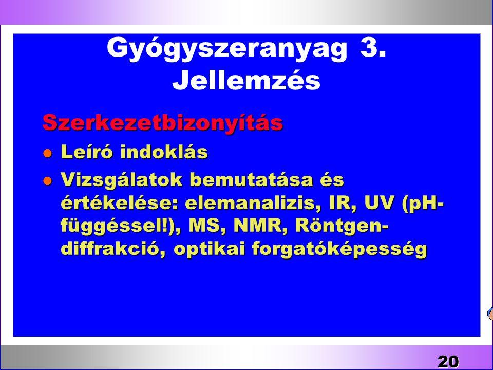 Gyógyszeranyag 3. Jellemzés Szerkezetbizonyítás l Leíró indoklás l Vizsgálatok bemutatása és értékelése: elemanalizis, IR, UV (pH- függéssel!), MS, NM