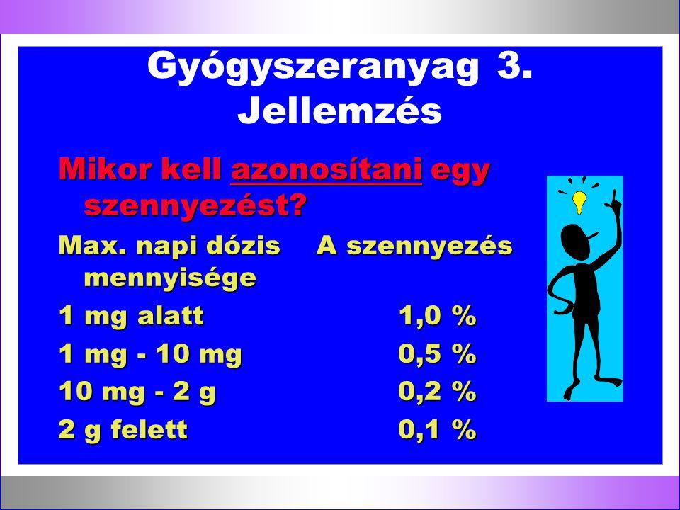 Gyógyszeranyag 3. Jellemzés Mikor kell azonosítani egy szennyezést? Max. napi dózis A szennyezés mennyisége 1 mg alatt1,0 % 1 mg - 10 mg0,5 % 10 mg -