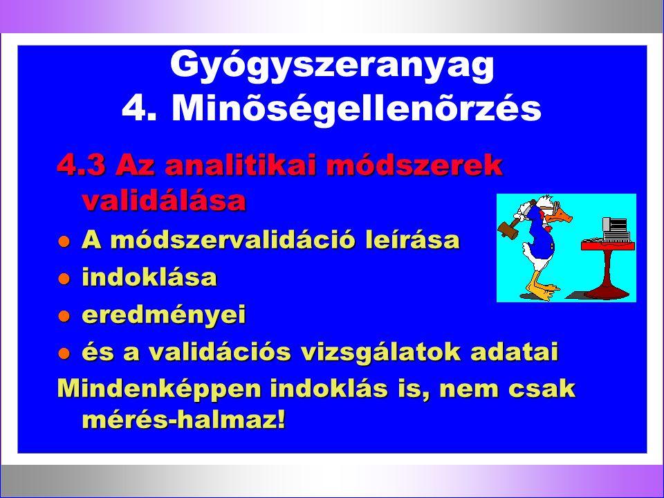 Gyógyszeranyag 4. Minõségellenõrzés 4.3 Az analitikai módszerek validálása l A módszervalidáció leírása l indoklása l eredményei l és a validációs viz
