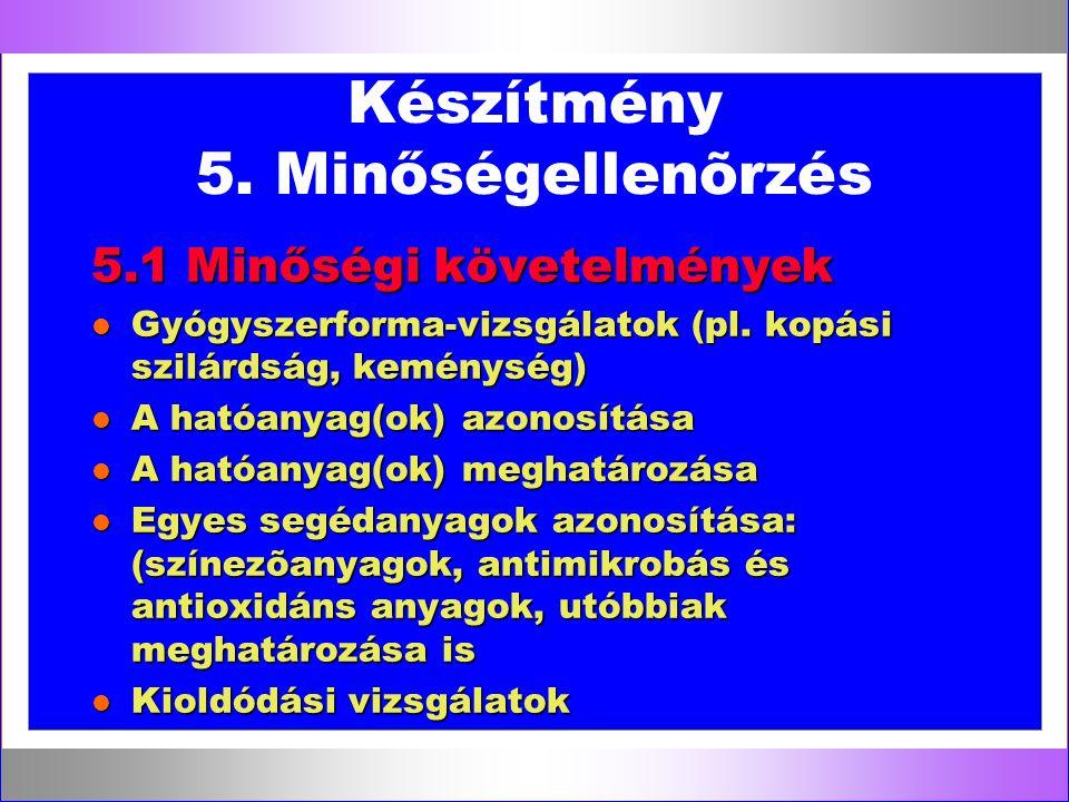 Készítmény 5. Minőségellenõrzés 5.1 Minőségi követelmények l Gyógyszerforma-vizsgálatok (pl. kopási szilárdság, keménység) l A hatóanyag(ok) azonosítá
