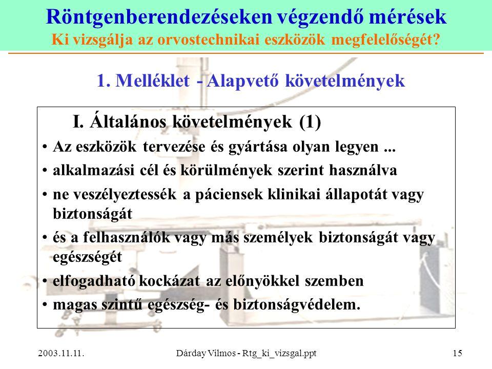 Röntgenberendezéseken végzendő mérések Ki vizsgálja az orvostechnikai eszközök megfelelőségét? 2003.11.11.Dárday Vilmos - Rtg_ki_vizsgal.ppt15 I. Álta
