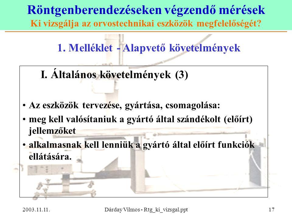 Röntgenberendezéseken végzendő mérések Ki vizsgálja az orvostechnikai eszközök megfelelőségét? 2003.11.11.Dárday Vilmos - Rtg_ki_vizsgal.ppt17 1. Mell