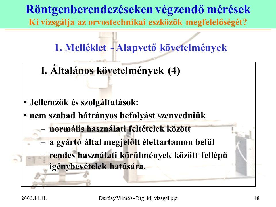 Röntgenberendezéseken végzendő mérések Ki vizsgálja az orvostechnikai eszközök megfelelőségét? 2003.11.11.Dárday Vilmos - Rtg_ki_vizsgal.ppt18 1. Mell