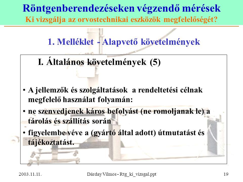 Röntgenberendezéseken végzendő mérések Ki vizsgálja az orvostechnikai eszközök megfelelőségét? 2003.11.11.Dárday Vilmos - Rtg_ki_vizsgal.ppt19 1. Mell