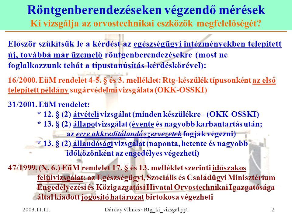 Röntgenberendezéseken végzendő mérések Ki vizsgálja az orvostechnikai eszközök megfelelőségét? 2003.11.11.Dárday Vilmos - Rtg_ki_vizsgal.ppt2 Először