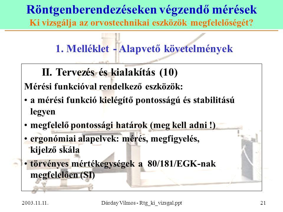 Röntgenberendezéseken végzendő mérések Ki vizsgálja az orvostechnikai eszközök megfelelőségét? 2003.11.11.Dárday Vilmos - Rtg_ki_vizsgal.ppt21 1. Mell